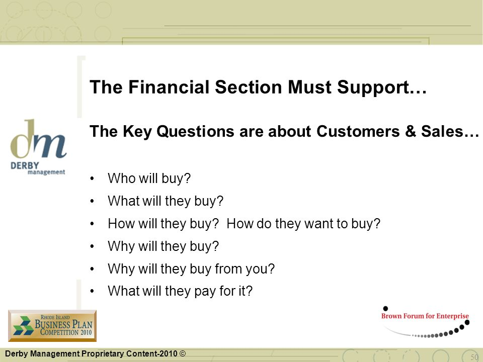 The Financial Section Must Support…
