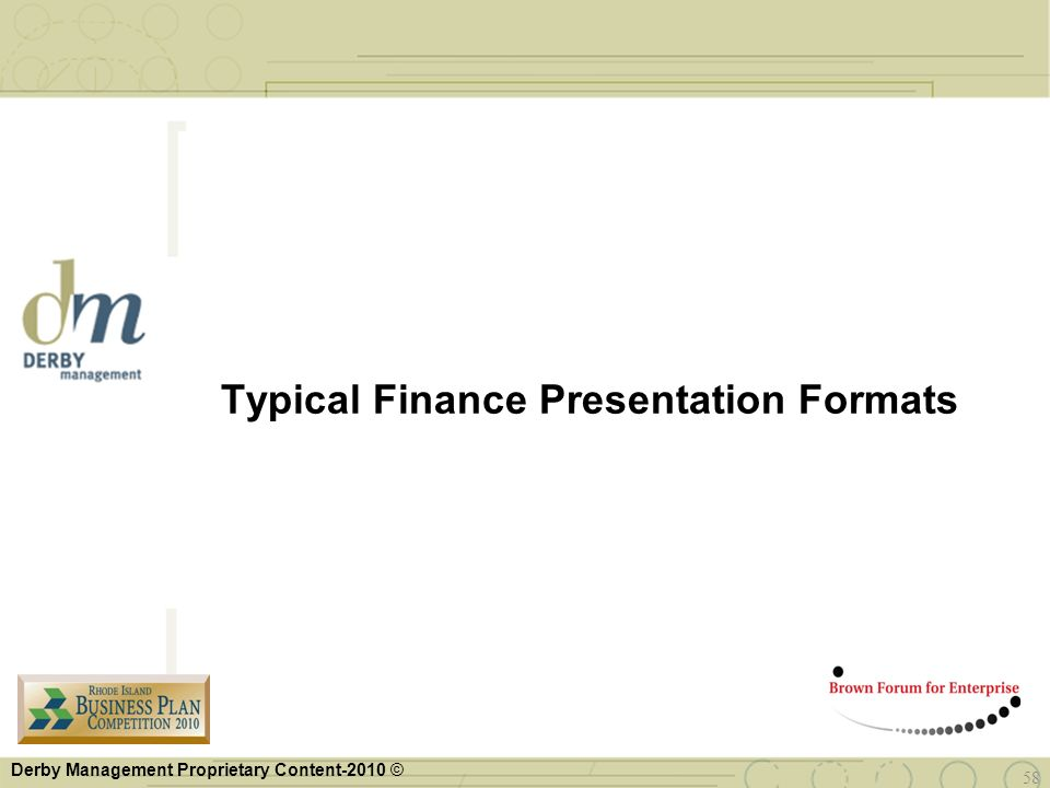 Typical Finance Presentation Formats