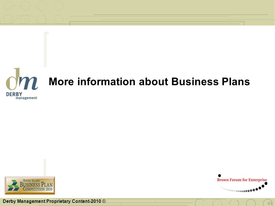 More information about Business Plans