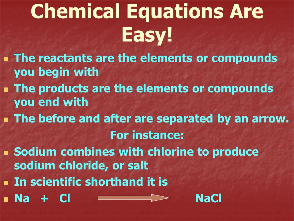 Chemical Equations Are Easy!