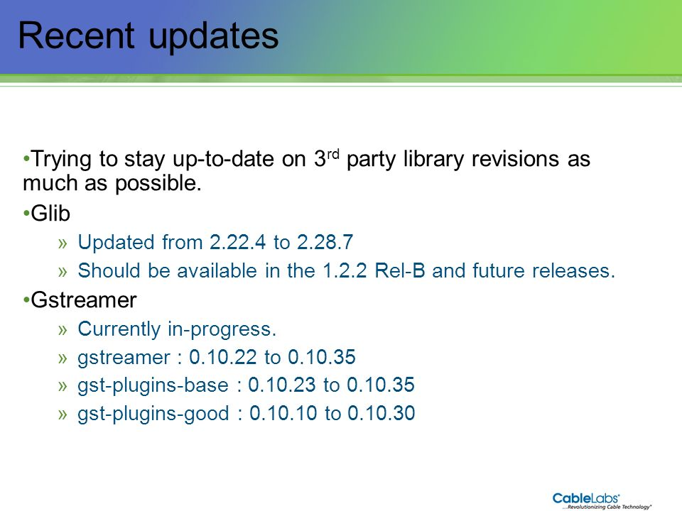 Recent updates Trying to stay up-to-date on 3rd party library revisions as much as possible. Glib.