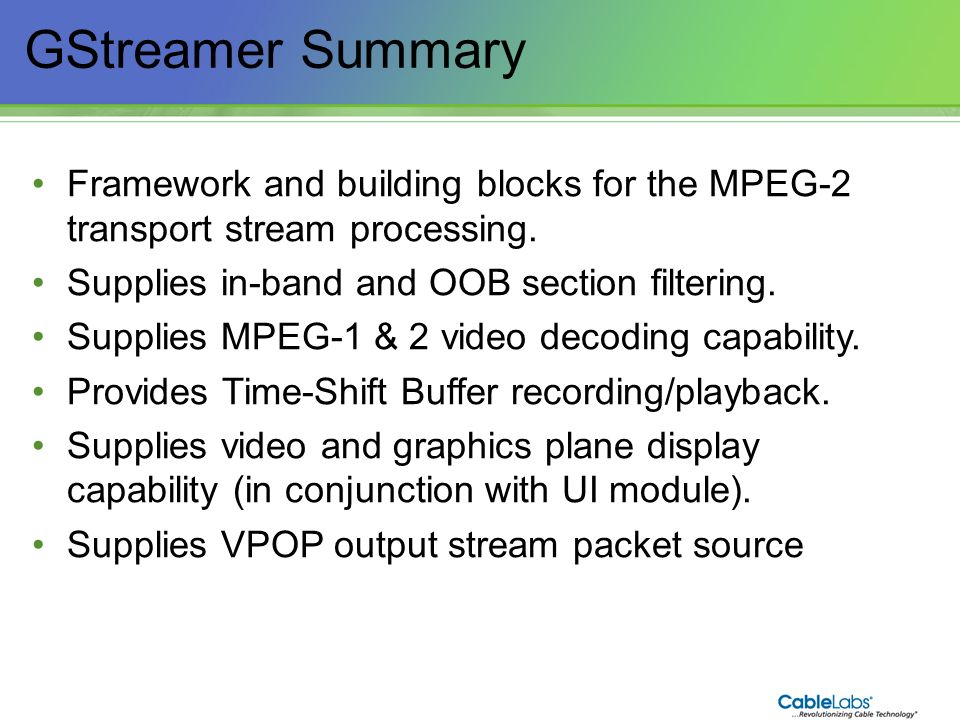 GStreamer Summary Framework and building blocks for the MPEG-2 transport stream processing. Supplies in-band and OOB section filtering.