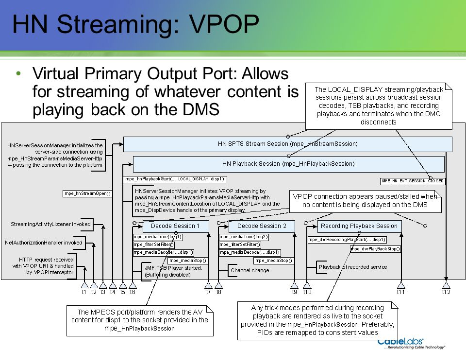 HN Streaming: VPOP Virtual Primary Output Port: Allows for streaming of whatever content is playing back on the DMS.