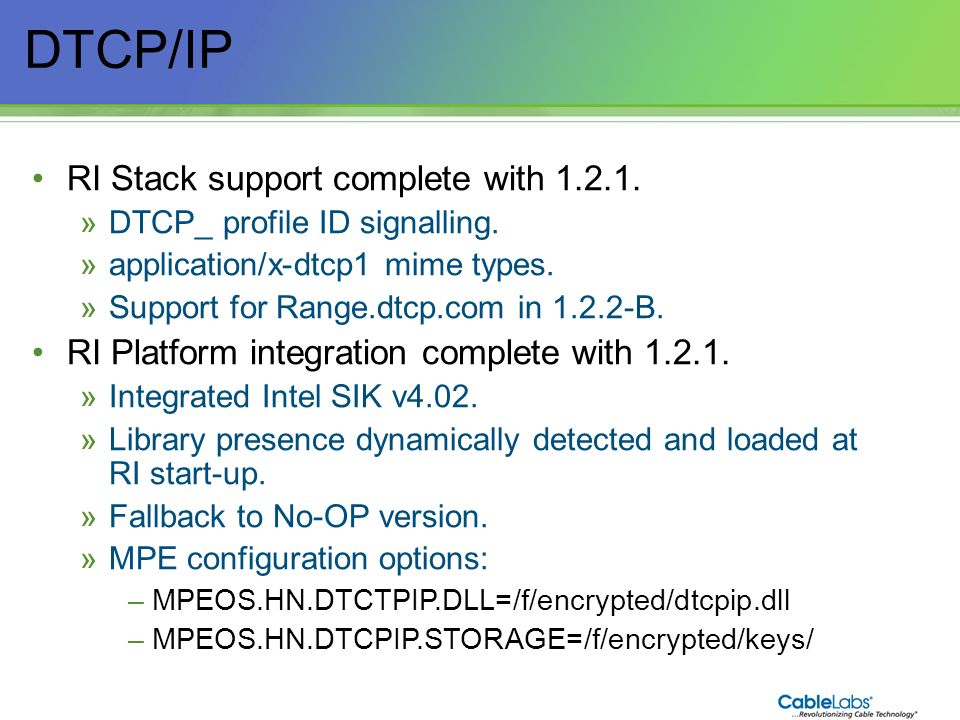 DTCP/IP RI Stack support complete with