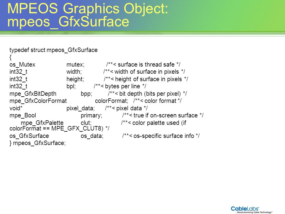 MPEOS Graphics Object: mpeos_GfxSurface