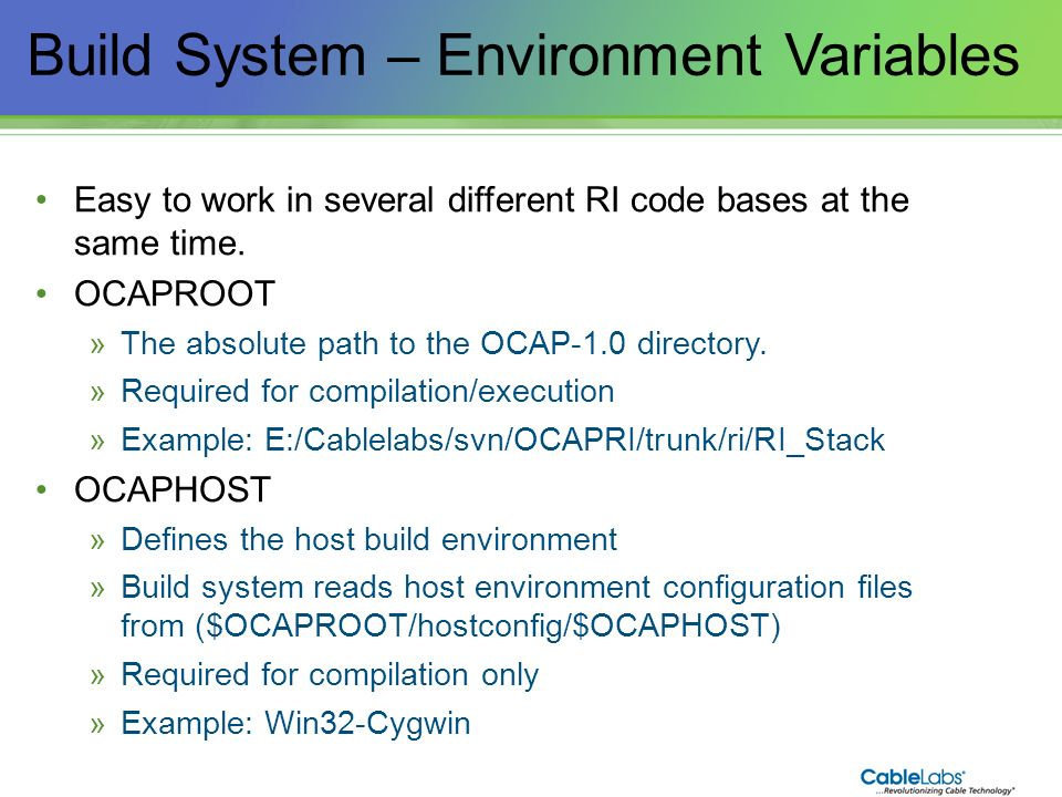 Build System – Environment Variables