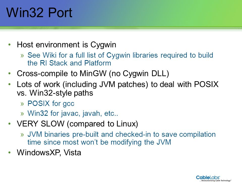 Win32 Port Host environment is Cygwin
