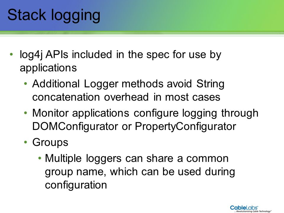 Stack logging log4j APIs included in the spec for use by applications