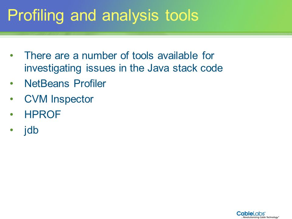 Profiling and analysis tools