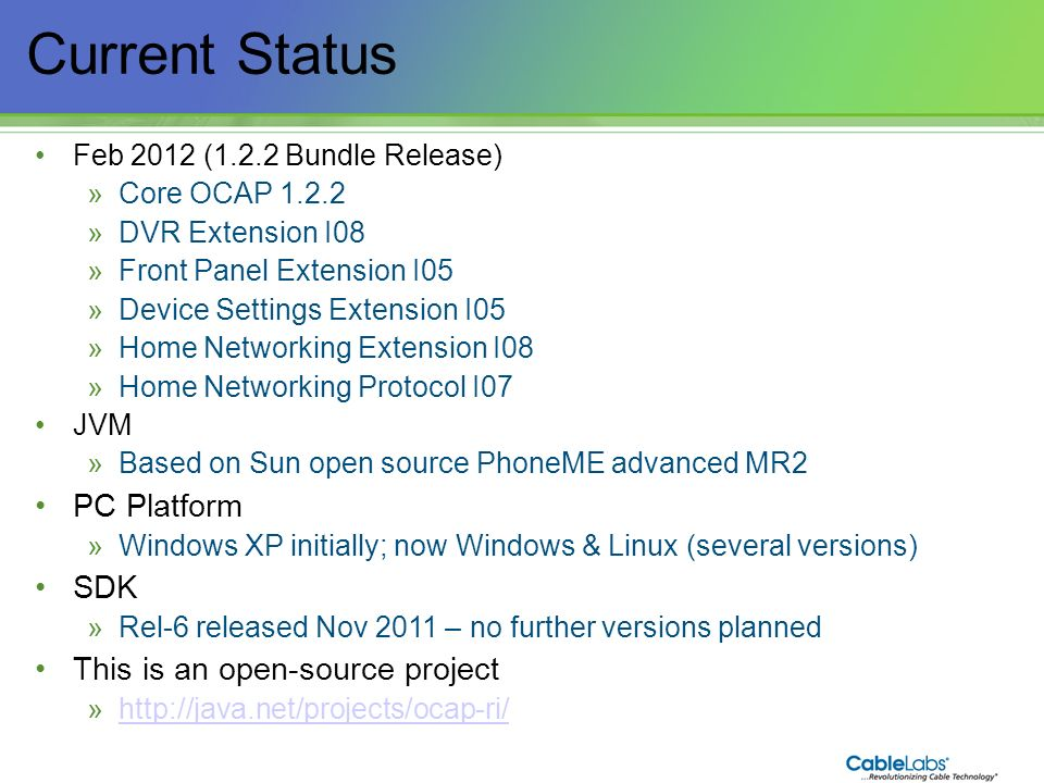 Current Status 5 PC Platform SDK This is an open-source project