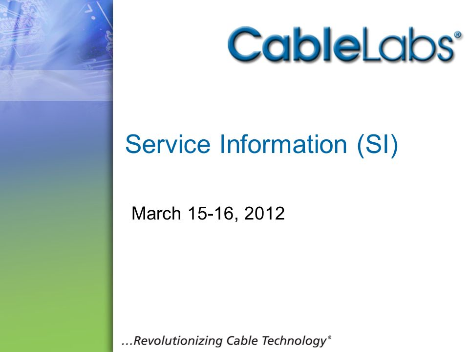 Service Information (SI)