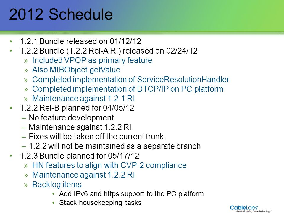 2012 Schedule Bundle released on 01/12/12