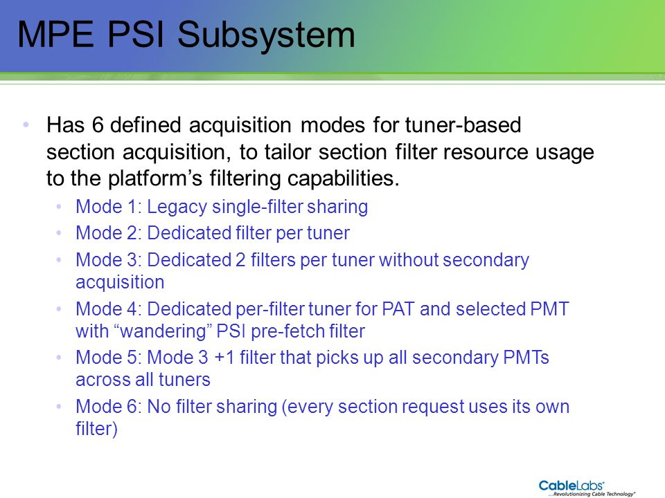 MPE PSI Subsystem