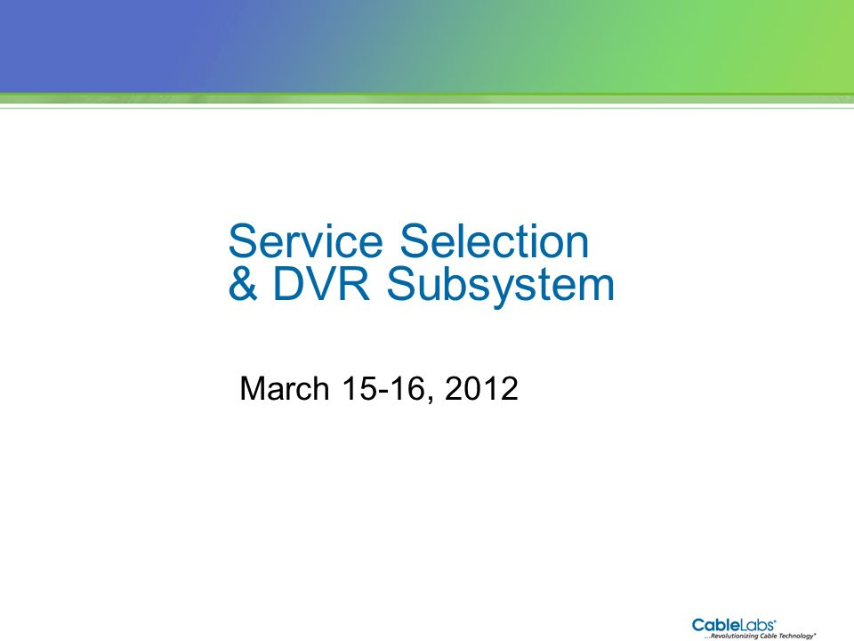 Service Selection & DVR Subsystem March 15-16,