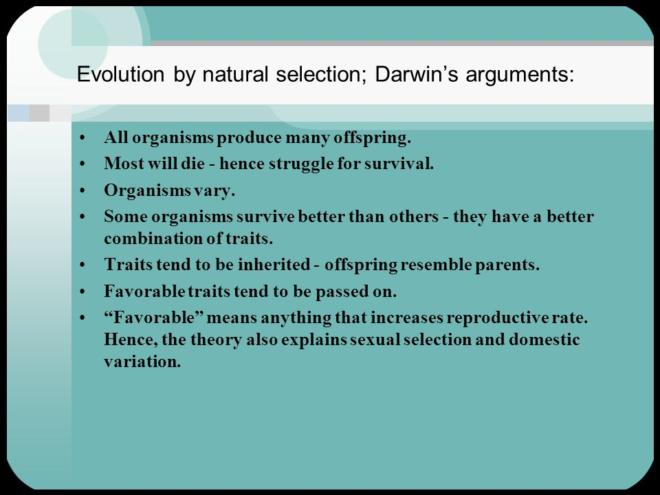 Evolution by natural selection; Darwin's arguments: