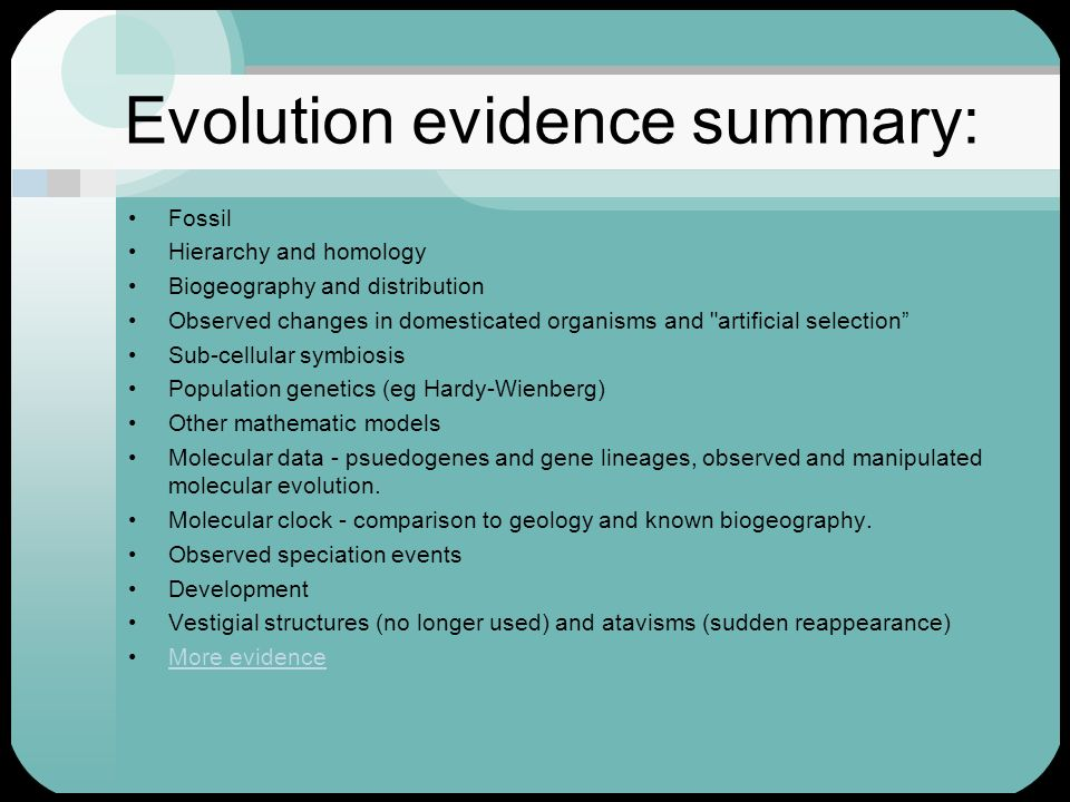 Evolution evidence summary: