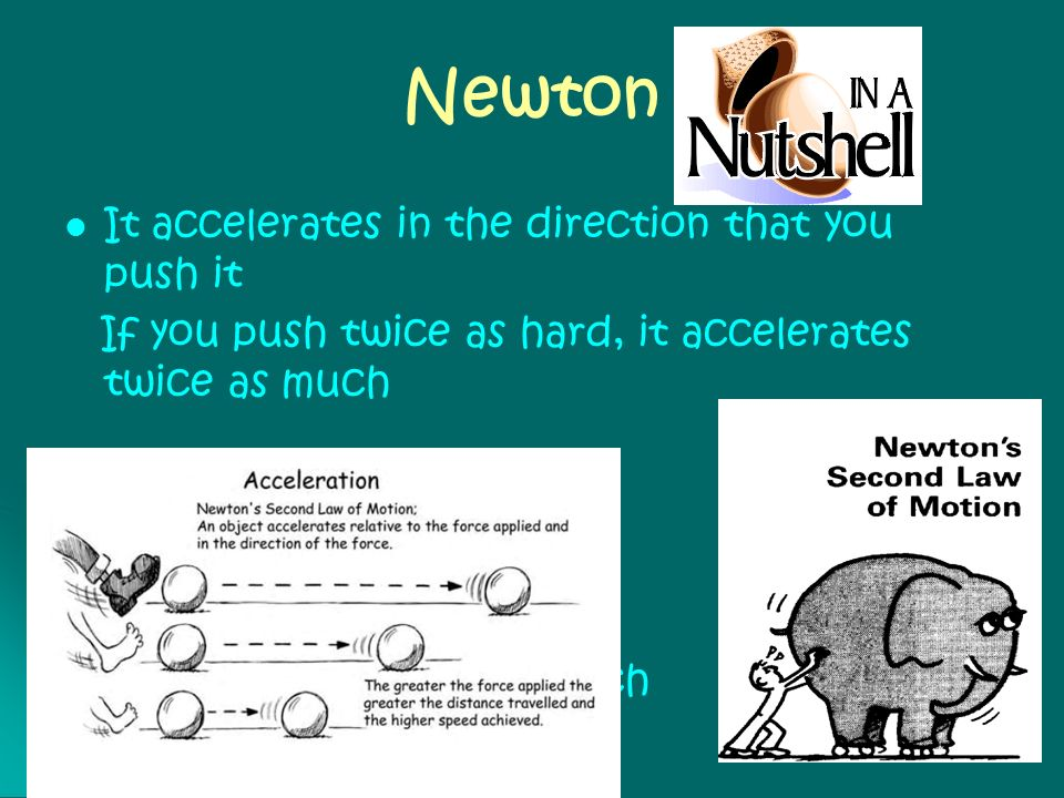 Newton It accelerates in the direction that you push it