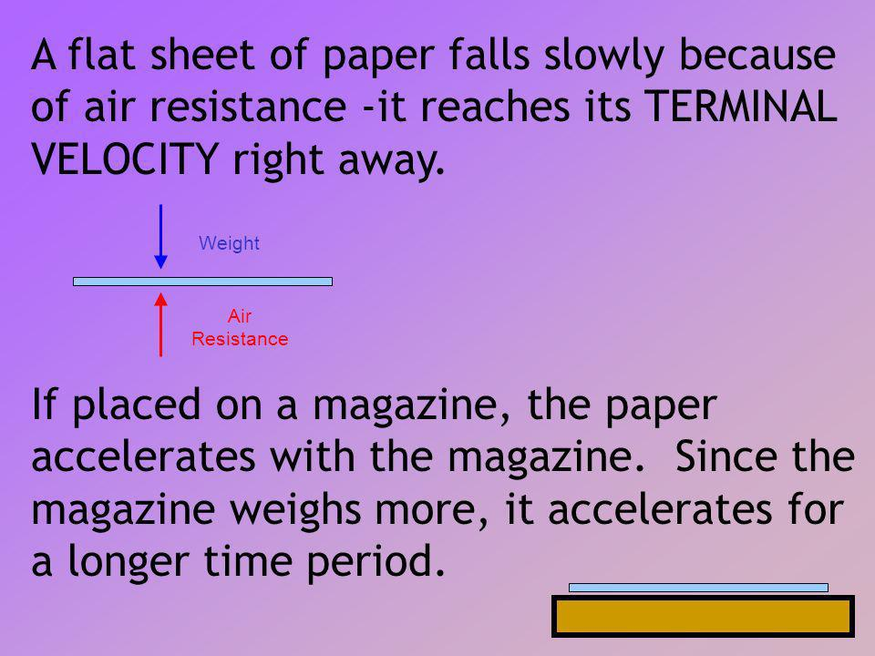 A flat sheet of paper falls slowly because of air resistance -it reaches its TERMINAL VELOCITY right away.