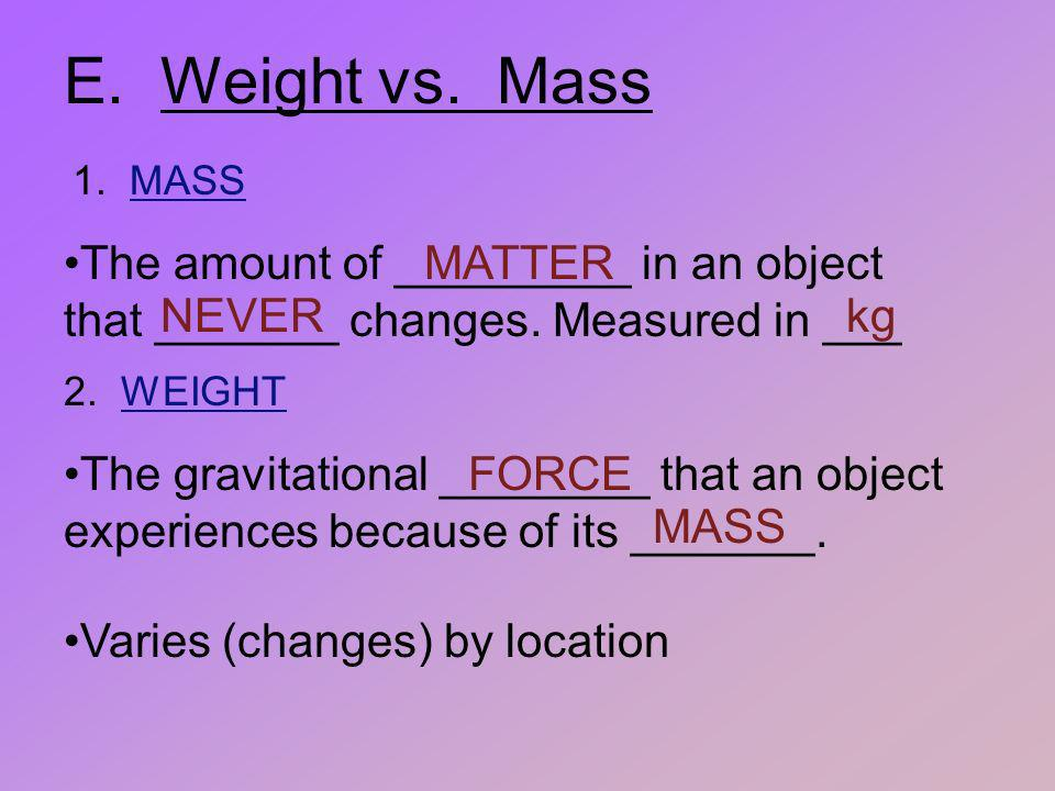 E. Weight vs. Mass 1. MASS. The amount of _________ in an object that _______ changes. Measured in ___.