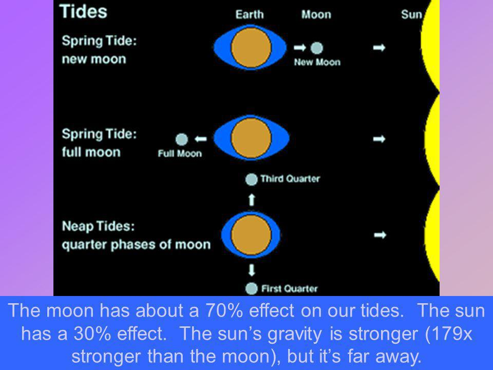 The moon has about a 70% effect on our tides. The sun has a 30% effect