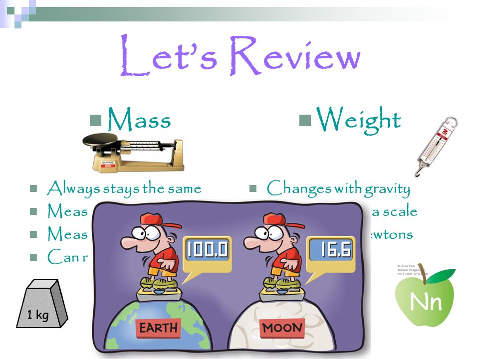 Let's Review Mass Weight Always stays the same Measured with a balance