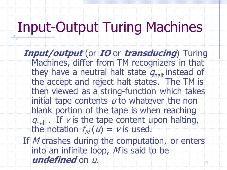 Input-Output Turing Machines