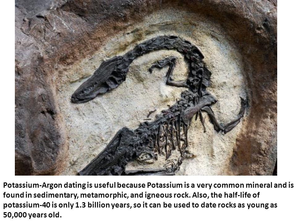 Potassium-Argon dating is useful because Potassium is a very common mineral and is found in sedimentary, metamorphic, and igneous rock.