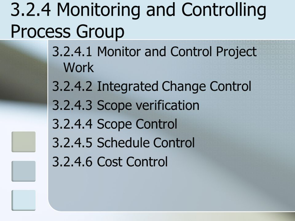 3.2.4 Monitoring and Controlling Process Group