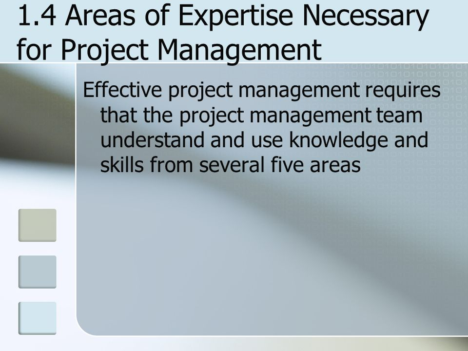 1.4 Areas of Expertise Necessary for Project Management
