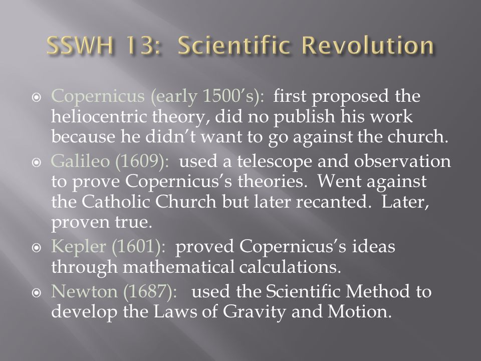 SSWH 13: Scientific Revolution