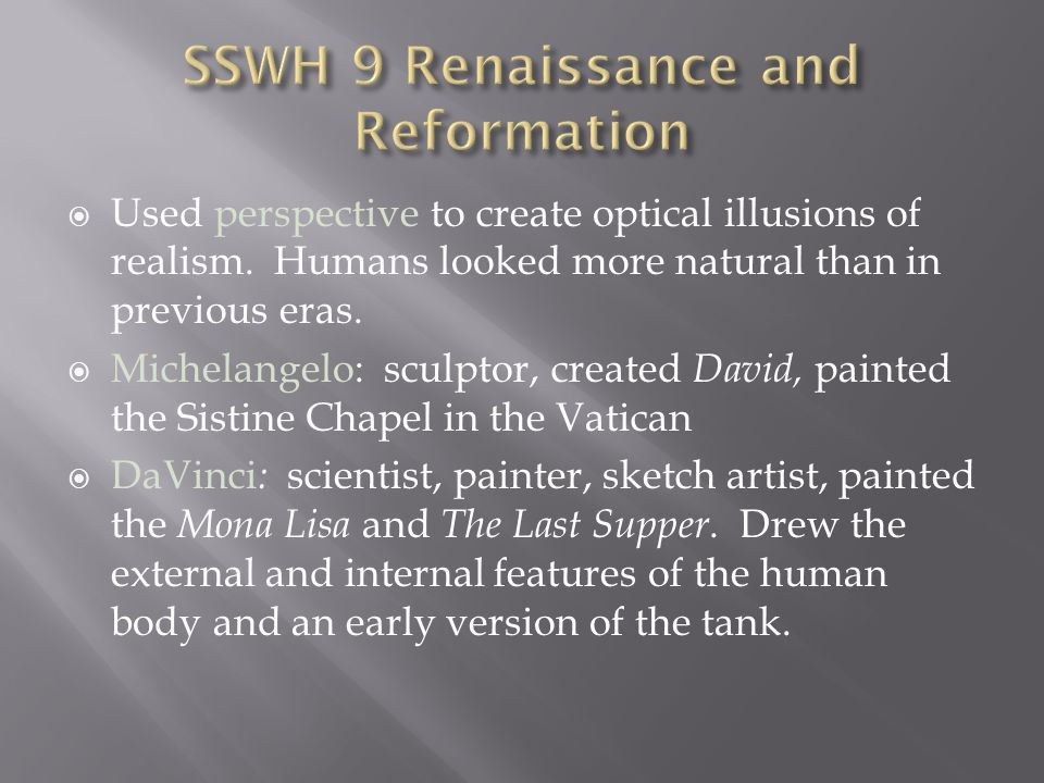 SSWH 9 Renaissance and Reformation