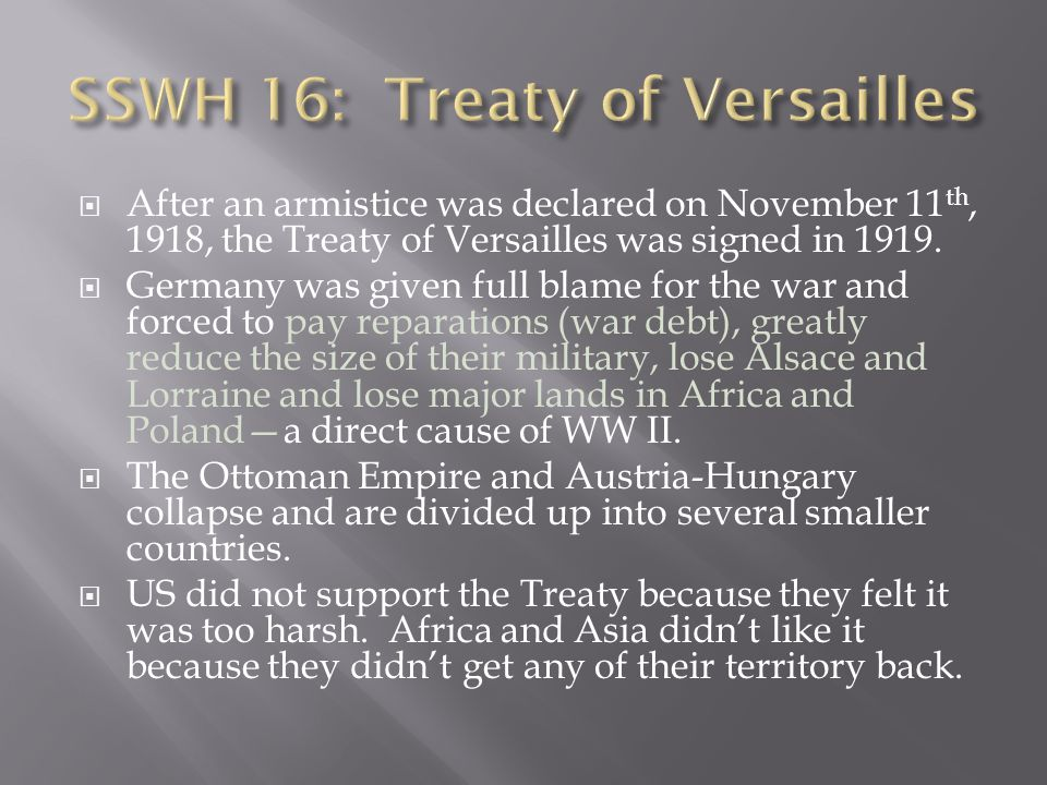 SSWH 16: Treaty of Versailles