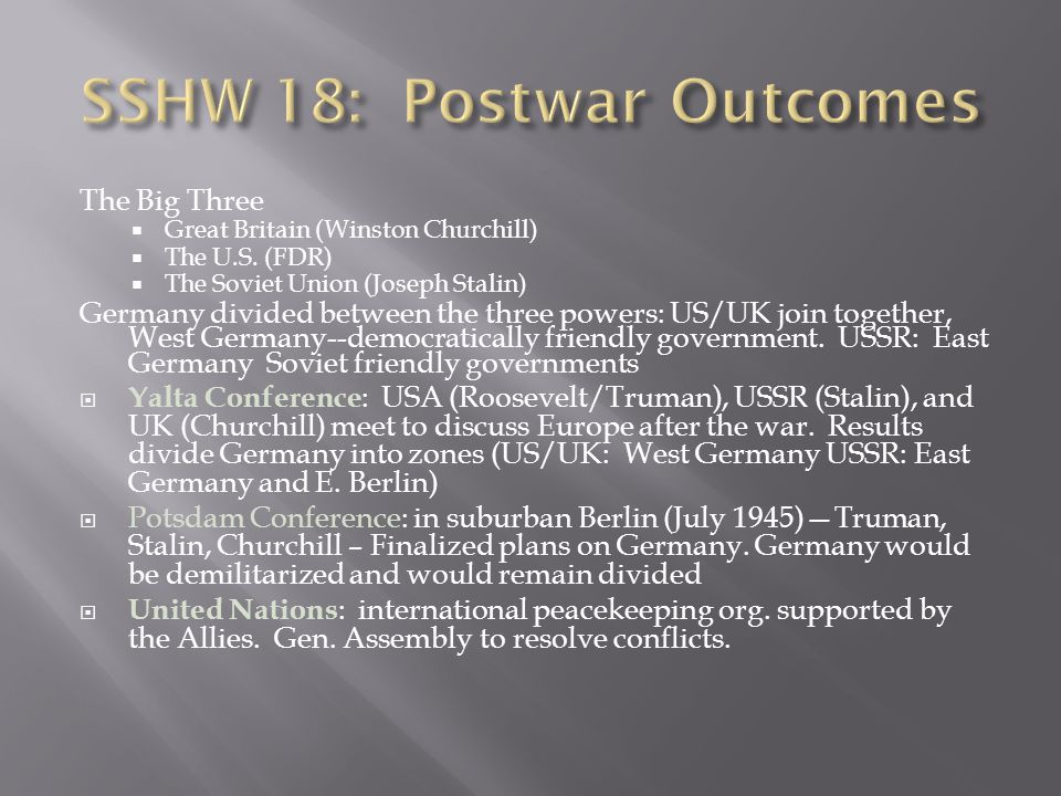 SSHW 18: Postwar Outcomes