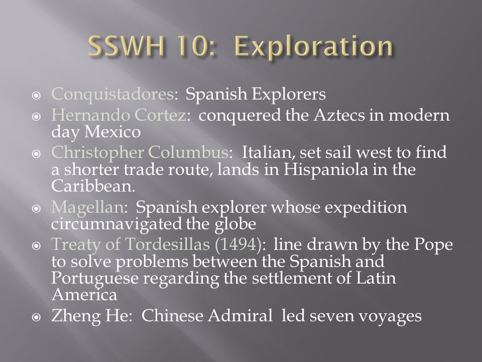 SSWH 10: Exploration Conquistadores: Spanish Explorers
