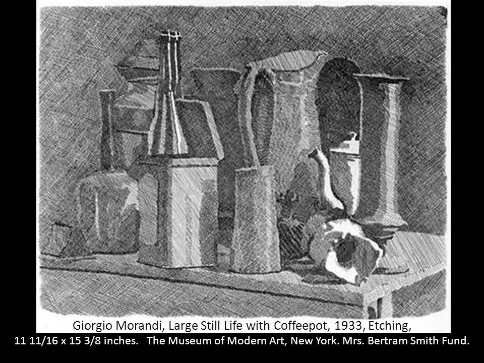 Giorgio Morandi, Large Still Life with Coffeepot, 1933, Etching,