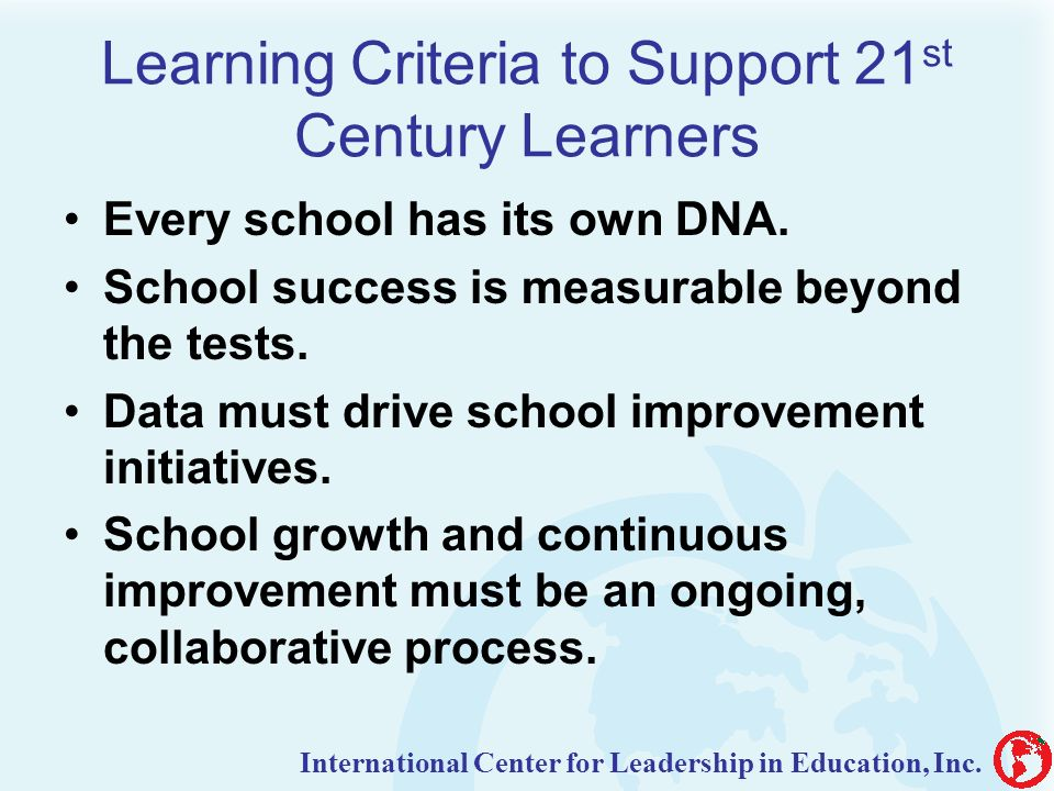 Learning Criteria to Support 21st Century Learners