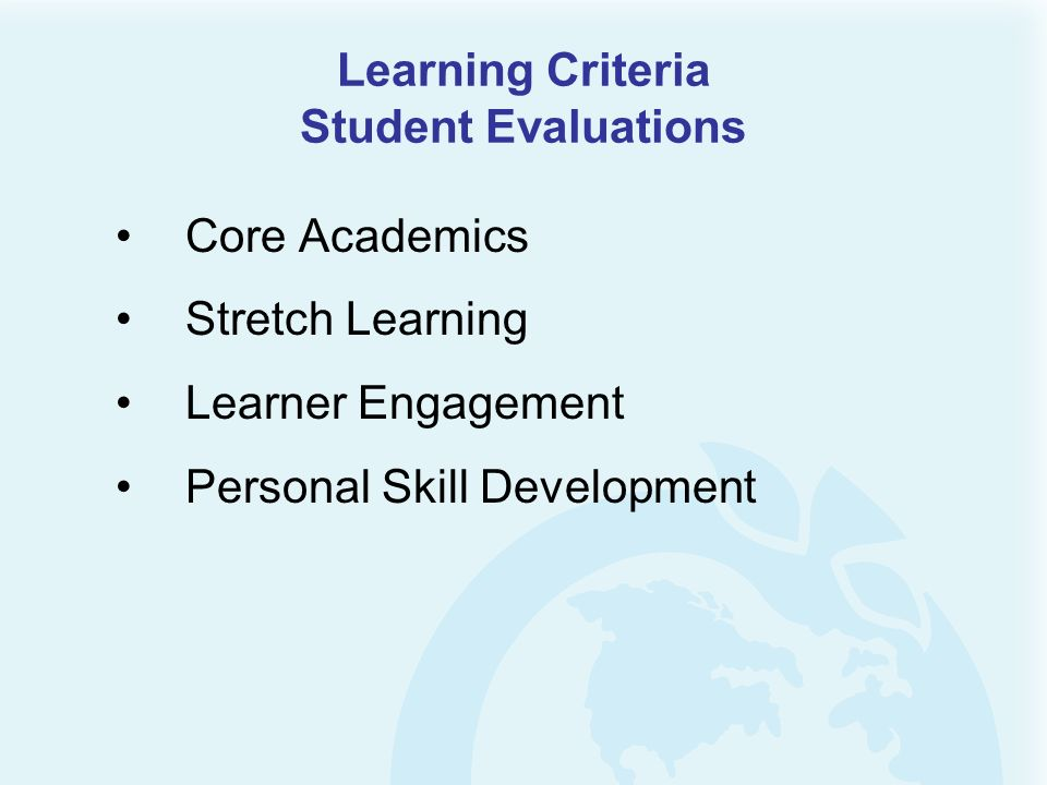 Learning Criteria Student Evaluations