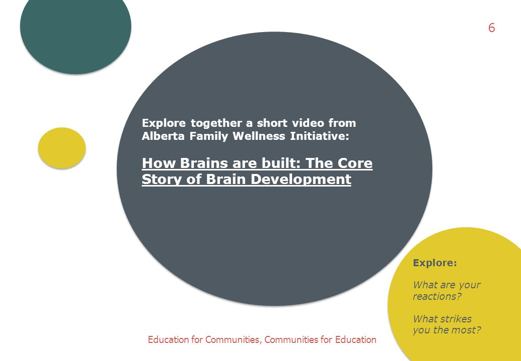 6 Explore together a short video from Alberta Family Wellness Initiative: How Brains are built: The Core Story of Brain Development.