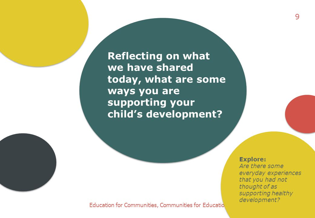 9 Reflecting on what we have shared today, what are some ways you are supporting your child's development
