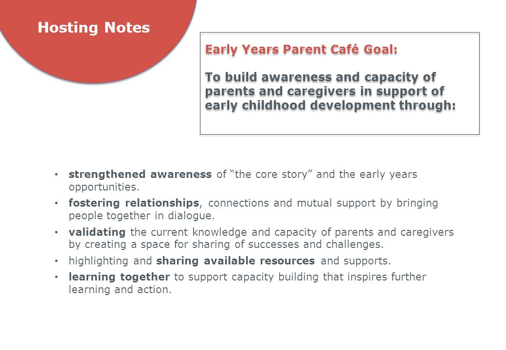 Hosting Notes Early Years Parent Café Goal: