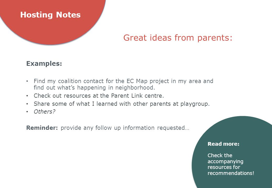 Great ideas from parents: