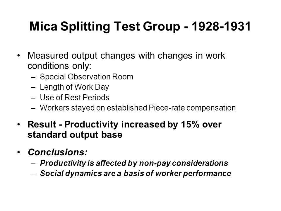Mica Splitting Test Group