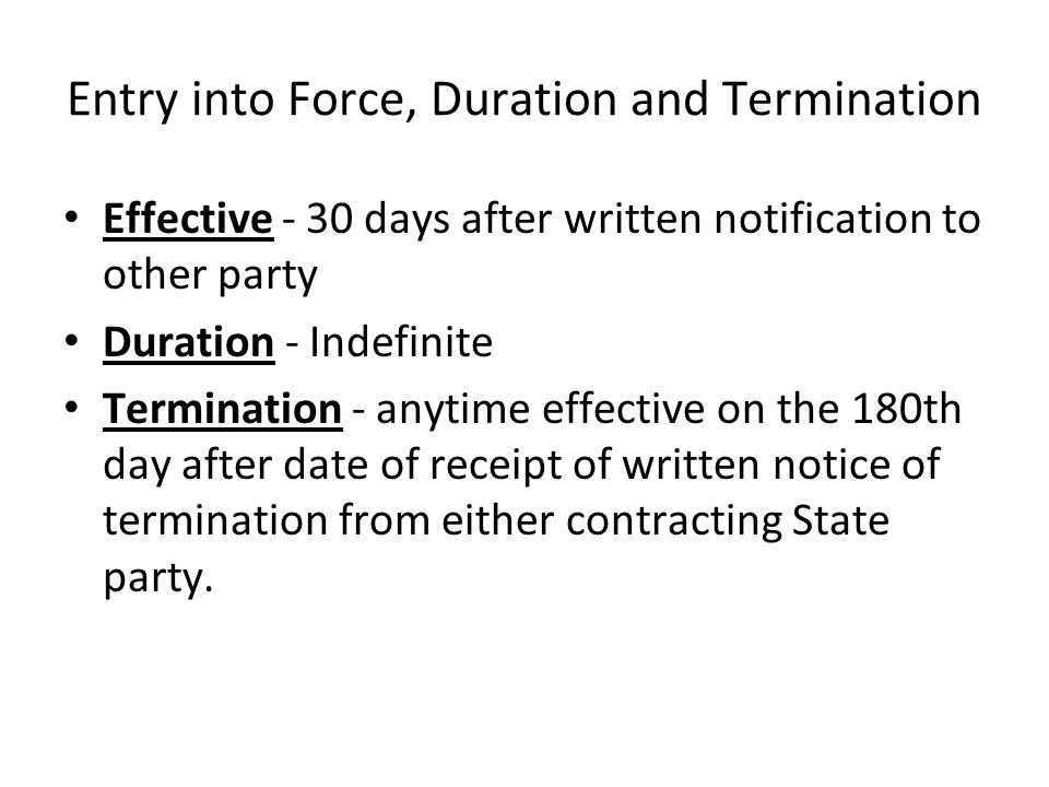 Entry into Force, Duration and Termination