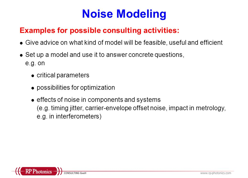 Noise Modeling Examples for possible consulting activities:
