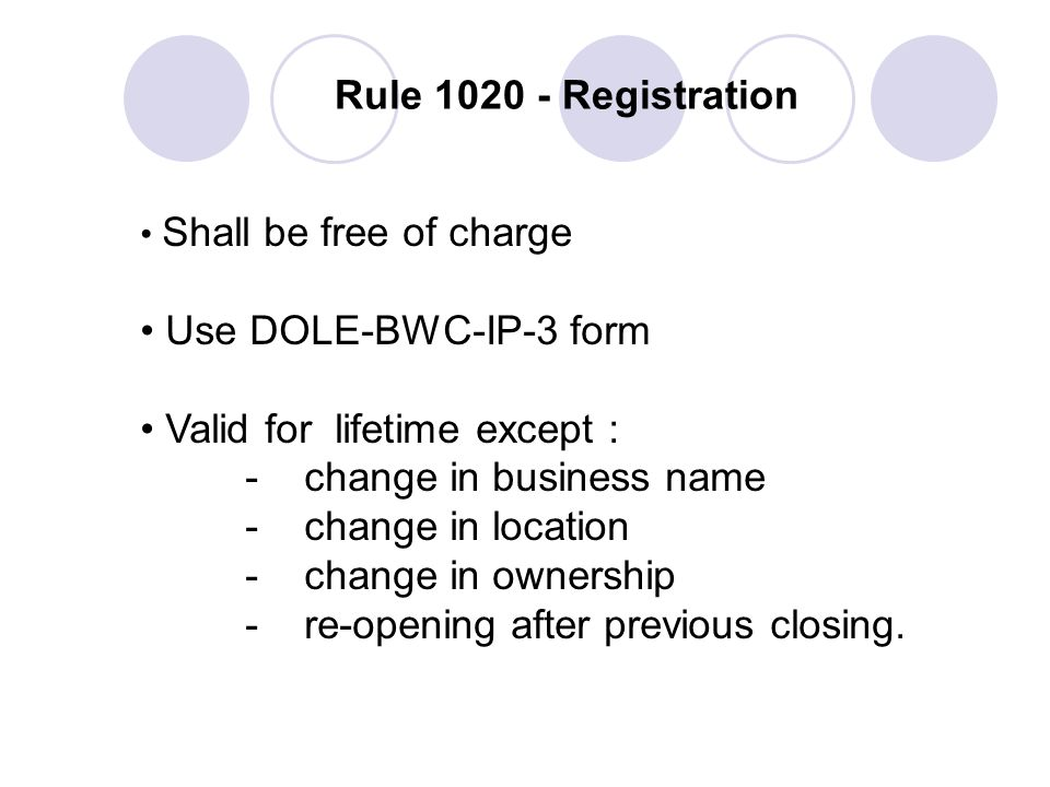 Valid for lifetime except : - change in business name