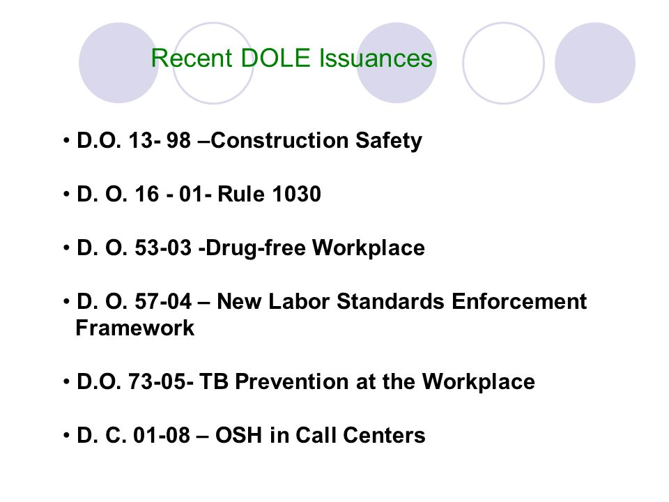 Recent DOLE Issuances D.O. 13- 98 –Construction Safety