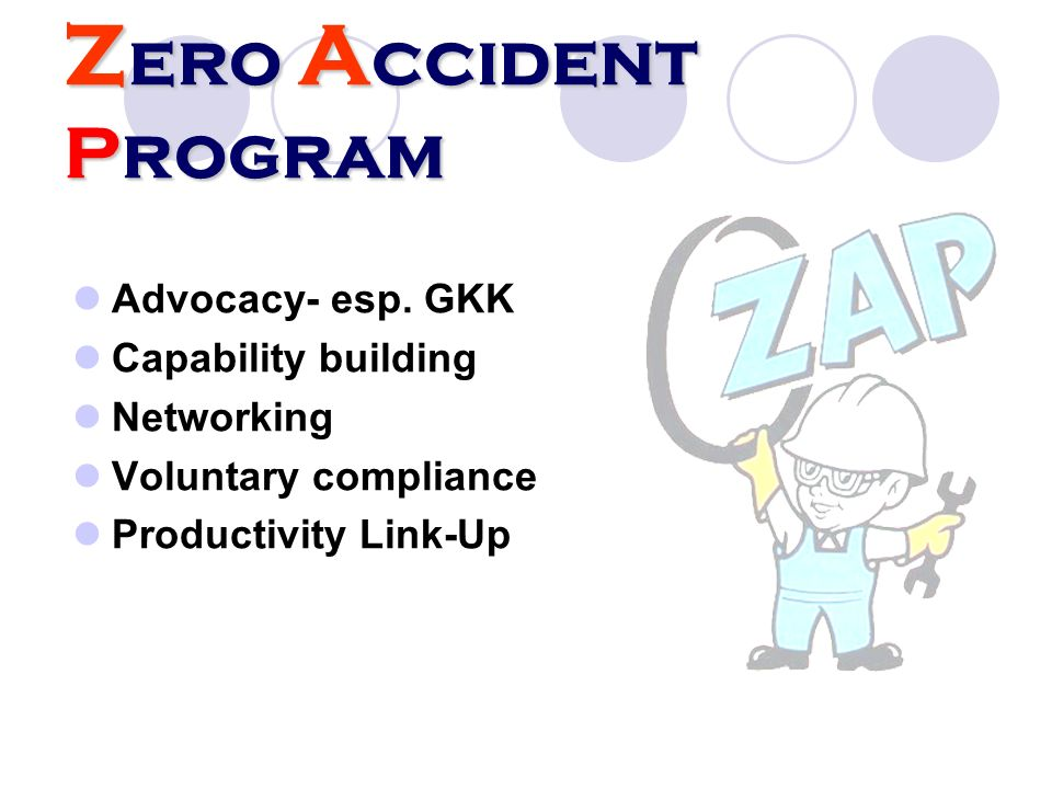 Zero Accident Program Advocacy- esp. GKK Capability building