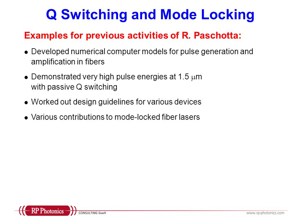 Q Switching and Mode Locking