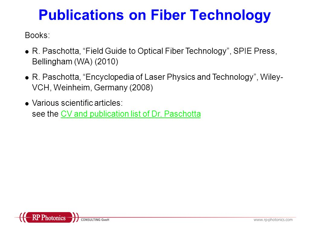 Publications on Fiber Technology