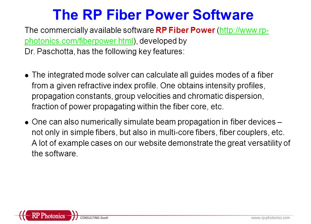 The RP Fiber Power Software